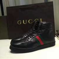 Gucci Men's Leather High Top Fashion Casual Sneakers Shoes