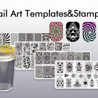 BORN PRETTY Nail Art Stamp Stamping Templates Stamper Scraper Kit- 4 Manicure Plates Set with 1...