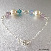 Handmade Silver Pearl Bracelets with 2, 4 or 6 Birthstones