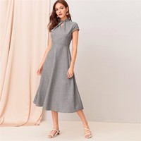 Grey Cut-out Twist Front Cap Sleeve Flare Long Dress Women Stand Collar Zipper Back Elegant Empire A Line Dresses