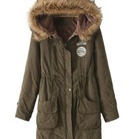 Vedem Women's Hooded Fleece Lining Parka Coat with Faux Fur Trim (XL, Army green)