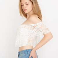 Lace Peasant Crop Top