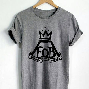 Fall Out Boys FOB Save Rock and Roll Shirt Unisex T Shirt Black White Gray Maroon #D1
