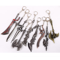 MOONSOUL WOW World of Warcraft weapon series 9 pcs metal key chain best christmas gifts men jewelry