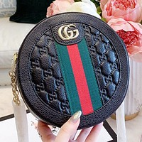 GUCCI New fashion stripe more letter leather round shoulder bag crossbody bag Black