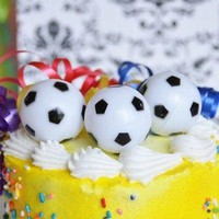 6 Soccer Ball Cake Toppers Cupcake Toppers-Sports Birthday Party Decoration