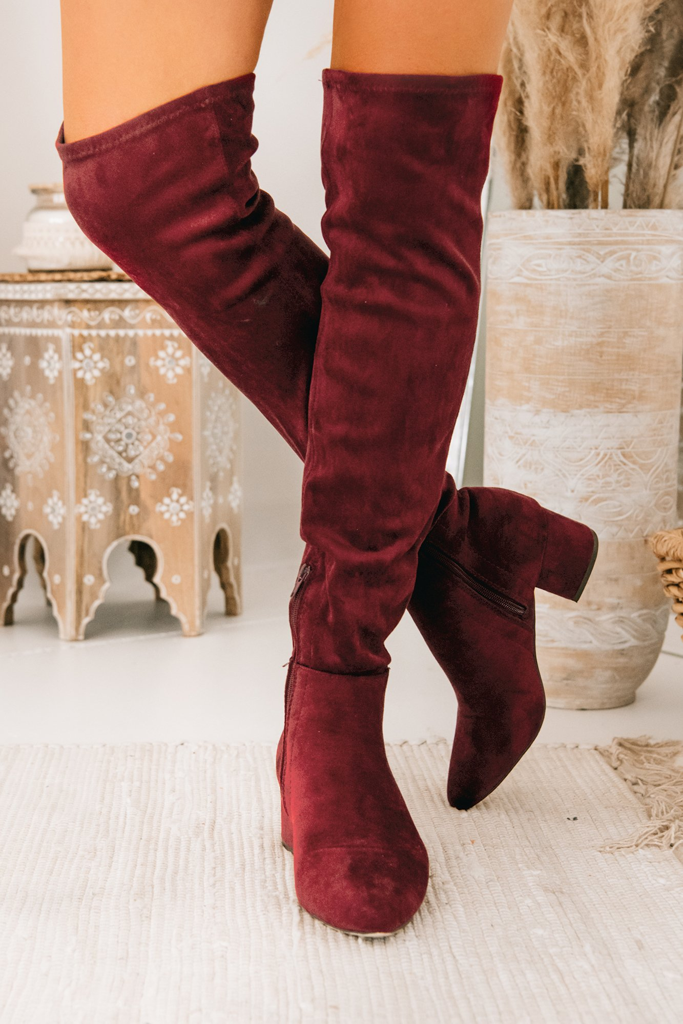 Image of Missed Your Chance Thigh High Boots (Burgundy)