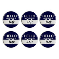 Jett Hello My Name Is Plastic Resin Button Set of 6