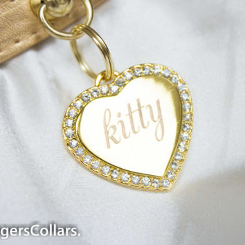 Gold Collar with Gold diamante crystal Tag custom engraved Collar,kitten play pet play, D/s, BDSM SLAVE COLLAR