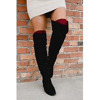 Tread Softly Faux Suede Thigh High Boots (Black)