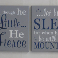 Set of Two Signs Painted Gray and Navy Blue, Baby Boy Nursery Decor, New Baby Boy Gift