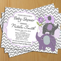 chevron baby shower invitation girl boy invites FREE Thank You card included Printable baby elephant printable invitation printable