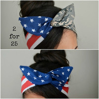 Camo American flag Dolly bow headbands, Military American Flag head band, hair bow