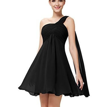 Woman fashion Ribbon Chiffon One Shoulder Ruched Empire Waist Bridesmaids Dress party cocktail homecoming dress = 1956804996