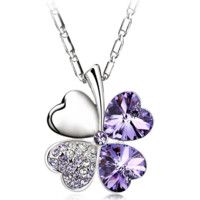 Swarovski Element Purple Crystal Four Leaves Necklace