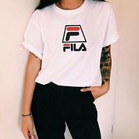 FILA loose white wild student lovers summer clothes white