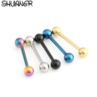 SHUANGR Unisex Tongue Ring Men Goth Punk Clip On Fake Piercing Body Nose Lip Rings Hoop Ear Tongue Ring Women 6 Colors