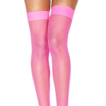 Pink (Neon) Small Fishnet Spandex Thigh High