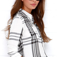 O'Neill Norma Black and Ivory Plaid Button-Up Top