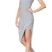 Black and White Striped Sleeveless Maxi Dress with Wide Side Slit