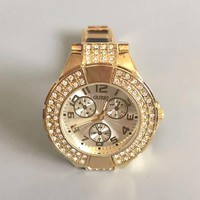 GUESS fashion New diamond round edge woemn and men watch Black gold