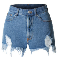 Womens Vintage High Waisted Ripped Frayed Denim Short with Pockets
