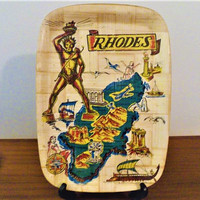 Vintage Retro 1970s Rhodes, Greek Island Souvenir Bamboo Tray / Kitsch Tourist Dodecanese Tray / The Island of the Knights / Platter