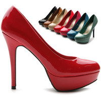ollio Womens Stilettos Pumps Enamel High Heels Platforms Multi Colored Shoes