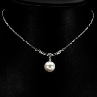 A Vintage 12mm White Pearl Russian Lab Diamond Wedding Necklace