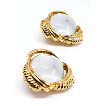 Sarah Coventry crystal ball gold toned vintage clip on earrings
