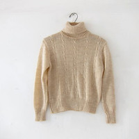 20% OFF SALE Vintage beige knit sweater. Cropped light brown sweater. Cable knit sweater. Preppy turtleneck sweater. Small XS