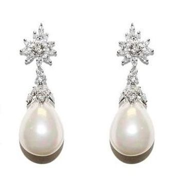 Evelyn Pearl Drop Marquise CZ Earrings | 2ct