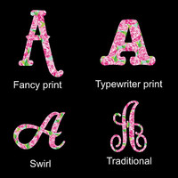 Single Initial Monogram Decal ~ Lilly Inspired ~ Choose your letter, choose your style!!