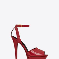 SAINT LAURENT TRIBUTE 105 PEEP TOE SANDAL IN RED | YSL.COM