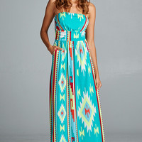 Strapless Mint Aztec Maxi with pockets