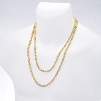 """Jewelry Kay style Men's Gold / Silver Plated Iced Double Set Tennis Chain Necklace 22"""" / 26"""""""