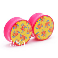 70's Inspired Pink and Yellow Floral BMA Plugs (2mm-38mm)