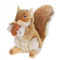 Hansa Plush Realistic Stuffed Animal - Brown Squirrel w/ Nut 9""