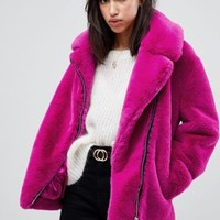 ASOS DESIGN biker in faux fur at asos.com