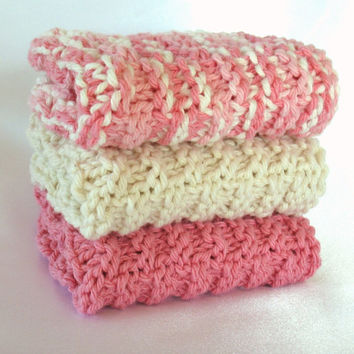Knit Washcloth Cotton Knitted Wash Cloth Dishcloth Pink Soft Facecloth