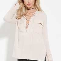 Lace-Up Pocket Top