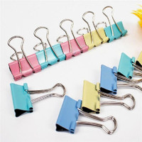 60PCS Office Study Family Tools Paper Color Long Tail Clip Stationery Folder LSU