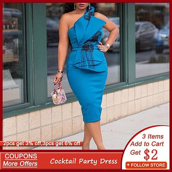 Blue Pleated Cocktail Party Dress Sexy Strapless Midi Bodycon Robe Femme African Floral Embroidery Bowknot Back Split Maxi Dress