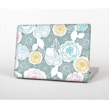 """The Subtle Gray & White Floral Illustration Skin Set for the Apple MacBook Air 13"""""""