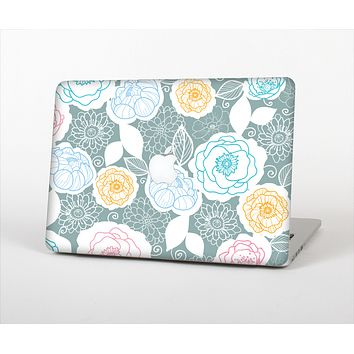 "The Subtle Gray & White Floral Illustration Skin Set for the Apple MacBook Pro 13"" with Retina Display"