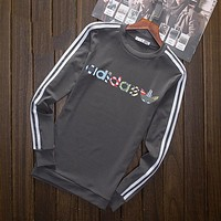 """""""Adidas"""" Multi-color Letter and Logo Print Long Sleeve Sweater(5-Color) Grey I-YSSA-Z"""