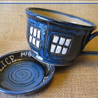 READY TO SHIP - Police Box Tea Cup - Pottery Soup Mug - Handmade - Doctor Who Tea Cup - Dr. Who Inspired
