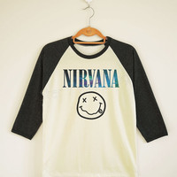 Galaxy Nirvana TShirt Alternative Rock TShirt Galaxy TShirt Baseball Tee Shirt Long Sleeve TShirt Women TShirt Unisex TShirt Size S,M,L