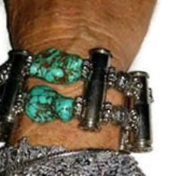 Bullets for Peace ™ Bullet bracelet with turquoise nuggets by Josette Redwolf