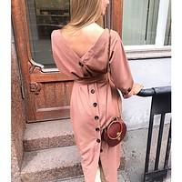 Autumn and winter long-sleeved back button women's dress